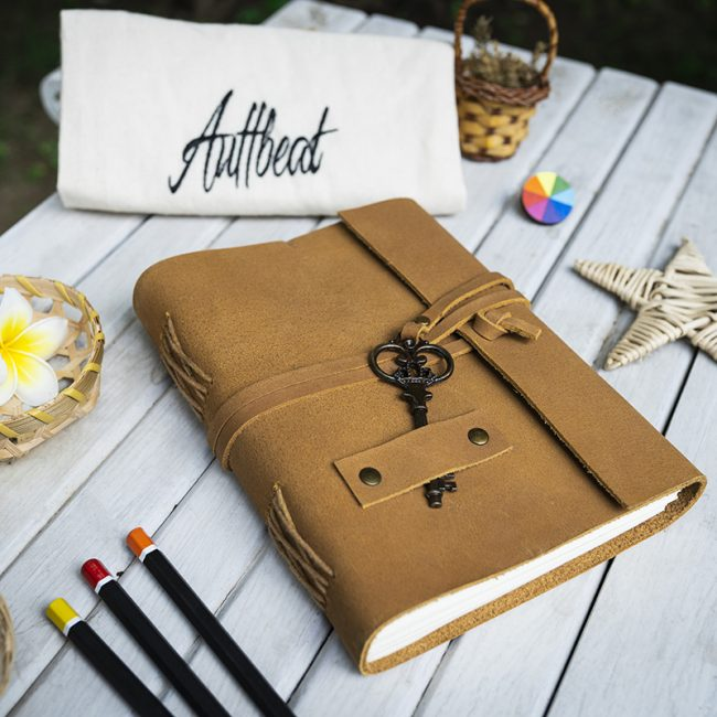 Buy Handmade Leather Journal with Antique Key Lock in Tan Brown Colour online