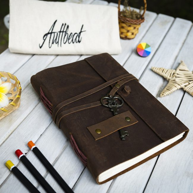 Buy Handmade Leather Journal With Antique Key Lock in Coffee Brown Colour online