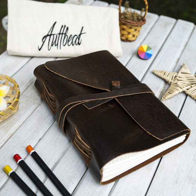 Buy Handmade Dotted Grid Leather Journal With Wrap Around Leather Strap online
