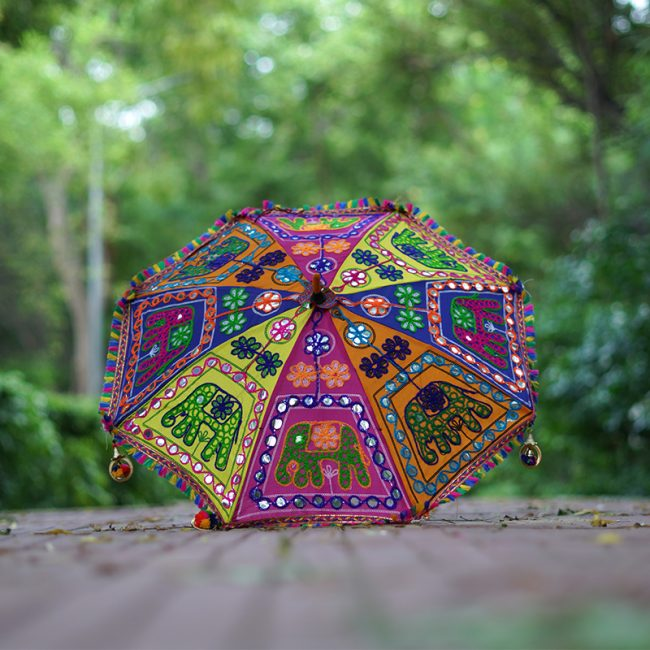 Buy Handmade Decorative Parasol Umbrella with Elephant Embroidery