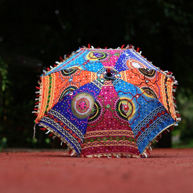 Buy Handcrafted Decorative Multi Embroidery Parasol Umbrella