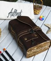 Buy Vintage Look Deckle Edge Old Fashioned Leather Journal With Antique Key online