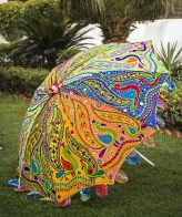 Buy Decorative Garden Parasol Umbrella with Dancing Peacocks Embroidery