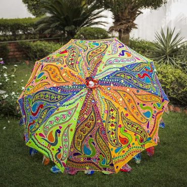 Buy Decorative Garden Parasol Umbrella with Dancing Peacocks Embroidery Design
