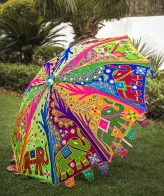 Buy Decorative Garden Parasol Umbrella with Elephant and Tree Embroidery online