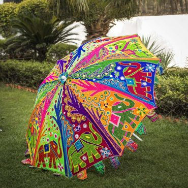 Buy Handmade Decorative Parasol Umbrella with Elephant and Tree Embroidery Online