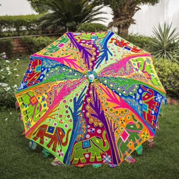 Buy Decorative Garden Parasol Umbrella with Elephant and Tree Embroidery