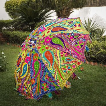 Buy Decorative Garden Parasol Umbrella with Parrot Embroidery Design Online