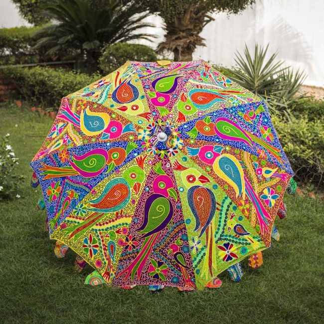 Buy Decorative Garden Parasol Umbrella with Parrot Embroidery Design