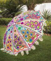 Buy Decorative Garden Parasol Umbrella with Dancing Peacocks Embroidery Online