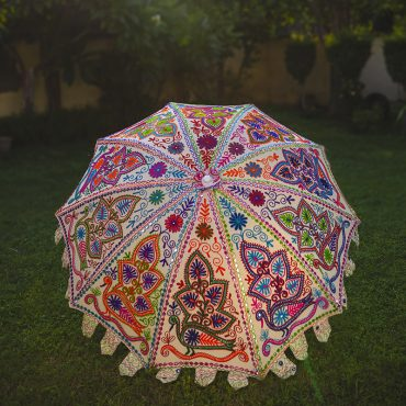 Buy Decorative Parasol Umbrella with Dancing Peacocks Embroidery Online