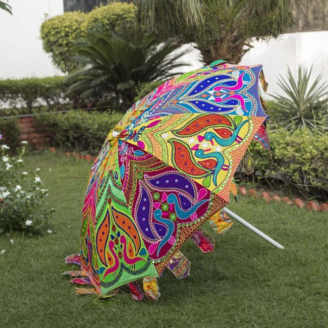 Buy Handmade Decorative Parasol Umbrella with Twin Peacock Embroidery Online