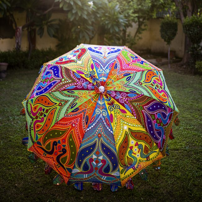 Buy Handmade Decorative Parasol Umbrella with Twin Peacock Embroidery Design