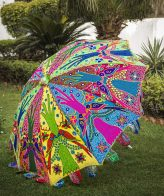 Buy Decorative Garden Parasol Umbrella with Parrots And Tree Embroidery Design online