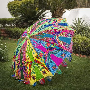 Buy Decorative Handmade Parasol Umbrella with Parrot & Tree Embroidery Design Online
