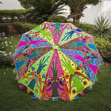 Buy Decorative Handmade Parasol Umbrella with Parrot Embroidery Design