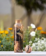 Original Handmade Peacock Design Copper Water Bottle