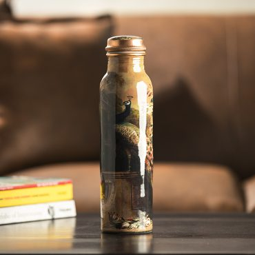 Handmade Peacock Design Copper Water Bottle