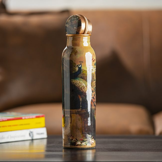 Original Handmade Peacock Design Copper Bottle