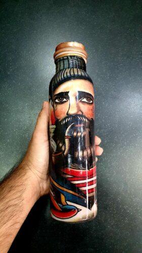 Handmade Meena Art Copper Bottle in Sailor Design photo review